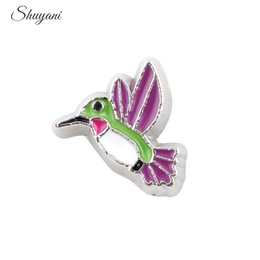 Wholesale Hummingbird Charms - Enamel Colorful Metal Alloy HummingBird Floating Locket Charms for Glass Memory Locket 7*7mm 20pcs Free Shipping
