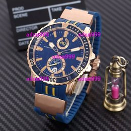 Wholesale Marine Stainless Watch - Famous Brand Luxury UN Men Mechanical Watches Ulysse Marine Rose Gold Stainelss Blue Face Rubber Strap Date Modern Mens Automatic Wristwatch
