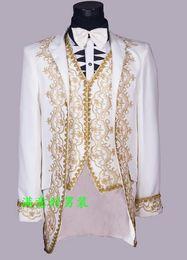 Wholesale Groom Wedding Dress Sets - Wholesale- White black singers wedding royal formal dress men's groom married suits blazers slim mens suit set man jackets + pants + vest