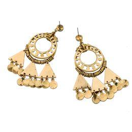 Wholesale Belly Dance Gifts - Vintage Retro Style Coin Tassels Dangle Earring Beach Bohemian Ethnic Jewelry Belly Dance Accessory Charm Earrings