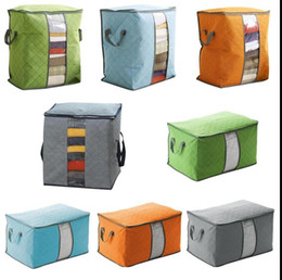 Wholesale Quilt Folds Pillow - Quilt Storage Bag Portable Non Woven Clothing Pouch Holder Blanket Pillow Underbed Storage Bag Clothing zipper folding Storage bag KKA2198