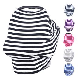 Wholesale Wholesale Multi Use Scarf - Multi-Use Stretchy Cotton Baby Nursing Breastfeeding Privacy Cover Scarf Blanket Stripe Infinity Scarf Baby Car Seat Cover nursing cover