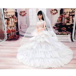 Wholesale Dolls Coats - Fashion Toy Doll Clothes Princess Evening Party Wedding Dress Clothes Clothing Gown Wears With Veil For Doll Toys For Girls