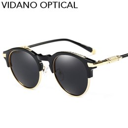Wholesale Modern Luxury Designer - Vidano Optical POLARIZED 2017 Edition Luxury Class Round Sunglasses For Men & Women Modern Fashion Designer Semi Rimless Sun Glasses UV400