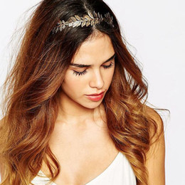 Wholesale Handmade Gold Hair Accessories - Wholesale New Gold color Leaf Vintage Bridal Headbands Jewelry Handmade Wedding Tiara Headpiece Women Prom Hair Accessories