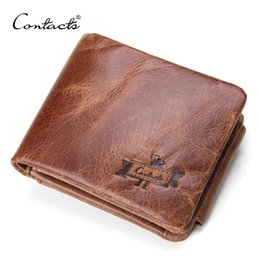 Wholesale Trifold Men Wallet - Quality CONTACT'S Genuine Crazy Horse Leather Men Wallets Vintage Trifold Wallet Zip Coin Pocket Purse Cowhide Leather Wallet For Mens