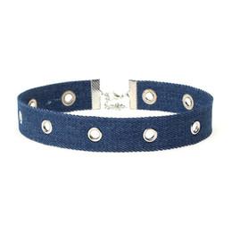 Wholesale Heart Jeans - New Arrival Blue Denim Chokers Jewelery Handmade Jeans Eyelet Design Denim Choker Necklace YR147
