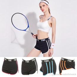 Wholesale Hot Pants Wholesale - Pink Sports Shorts Sporting Running Yoga VS Trunks Short Shorts Running Pants Fitness Gym Hot Pants 5 Colors 3pcs AP02