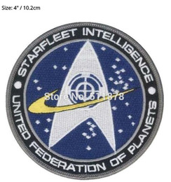 "Wholesale Star Trek Uniforms - 4"" STAR TREK STARFLEET INTELLIGENCE Command Comic Logo Uniform Movie TV Series Costume Cosplay Embroidered Emblem iron on patch party favor"