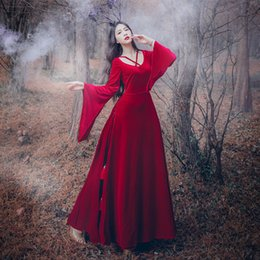 Wholesale Vintage Carnival Dress - free ship red velvet flare sleeve long vintage medieval dress Renaissance princess fairy costume Victorian dress Marie