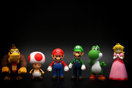 Wholesale Mario Toys Collection - 6PCS Set Super Mario Action Figures Collection GCA Brothers Mini Party Figures Peach Toad Luigi Yoshi Donkey Kong PVC Action Toy OTH093