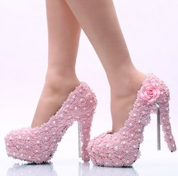 Cheap powder pink wedding dress - New round head high heels pink bud silk powder tassel shallow flats Fine documentary shoes sexy women's shoes