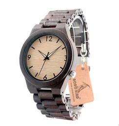 Wholesale Wood Man Japan - Top Brand Designer Mens Wood Watch Ebony Wooden Bamboo Quartz Watches for Men Japan miyota Watch Men in Box Drop Shipping