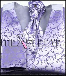 Wholesale Tuxedo Ascot Tie - Wholesale- New arrival free shipping Men's Suit Tuxedo Dress lavender Vest (vest+ascot tie+cufflinks+handkerchief)