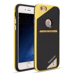 Wholesale Carbon Fibre Iphone - Card Slot Carbon Fibre Shockproof Case TPU Phone Cases Cover For iPhone 7 6 6S Plus 5 5S SE For Samsung S7 J3 J7 2017