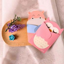 Tarjetas de felicitación universal de vacaciones online-Abrazo de amor Tarjeta pequeña animal de dibujos animados con sobres Tarjetas de felicitación de cumpleaños Vacaciones regalo universal para niños