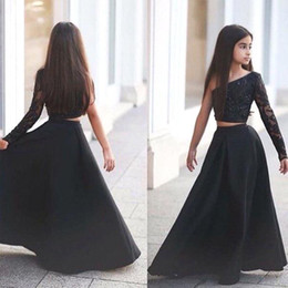 Wholesale One Piece Chart - Arabic Said Mhamad Black One Shoulder Long Sleeve Kids Prom Dresses A Line Two Piece Beaded Flower Girls Dresses 2017 BA1435