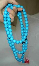 Wholesale Mala Turquoise - Tibetan 108 Natural Turquoise Buddhist 108 Prayer 10mm Beads Mala