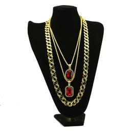 Wholesale Ice Stone Necklace - Mens & Lady Gold Tone Rhinestone Full Stone Miami Cuban Necklace Bundle Set Hip Hop Iced Out Pendant Necklace Fashion Jewelry