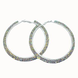 Wholesale Large Round Fashion Earrings - Rhinestone Crystal Large Hoop Earrings AB Rhinestones Round Circle Earrings Delicate Big Hoops Fashion Jewelry for Women