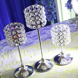 Wholesale Candelabra Centerpieces - Crystal Candle Holder Metal Silver Candlestick Lantern Votice Candle Stand Candelabra Centerpieces Wedding Decoration Mariage