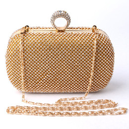 Wholesale Black Studded Bag - 2016 diamond-studded frame evening bag with a diamond bag women's rhinestone banquet handbag day clutch female 3 Color
