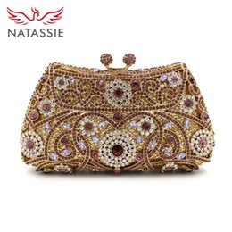 Wholesale Crystal Flower Clutch Purse - Wholesale-New arrival 2016 Clutch Purse Silver Crystal Evening Bags Women Wedding Party Bridal Handbags Gold Sky Blue Wholesale With Chain