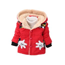 Wholesale Hood Parka Overcoat - cute baby kids parkas coat mickey minnie hooded cotton overcoat for 1-4yrs children boys girls Winter jacket outerwear clothes