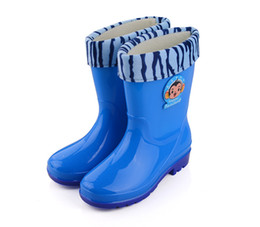 Wholesale Wholesale Rubber Rainboots - Children Boots girls boys rain boots kids rainboots fashion anti-skid boots blue pink color 5 pairs l