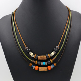Wholesale Wholesale Color Wooden Beads - Newest Color Braided Rope Necklaces Bohemian National Wind Multilayer Wooden Bead Necklace Adjustable Charm Necklaces For Men Women Jewelry