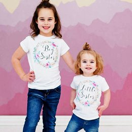 Wholesale Little Girls T Shirts - INS Girls BIG SISTER Tshirt LITTLE SISTER Romper Funny Letters Printed Cotton Clothes Jumpsuit Romper Outfits T Shirt Summer New Arrival
