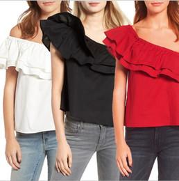 Wholesale Light Blouses - 2017 Fashion Fancy One Shoulder Ruffle Sleeveless Tops Wear Jeans Light Blue Denim Irregular Shape Blouse Camisole For Women BR069