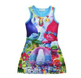 Wholesale Velvet Baby Princess Dress - 2 Color Girls Trolls Princess Dress Children Summer Sleeveless Clothing Baby Princess Dresses Poppy Printting Kids Cartoon Vest Dress