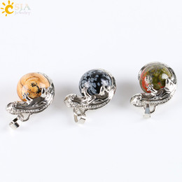 Wholesale Lizard Necklace Jewelry - CSJA Silver Lizard Animal Charm Pendant for Men 17 Natural Stone Ball Bead Jewellery Summer Daily Wearing Jewelry Necklace DIY Making E286 B