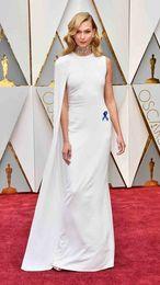Wholesale Celebrity Tulle Oscar Dresses - Custom Made Caped White Long Evening Prom Gown 2017 Oscars Celebrity Dresses Floor Length Cheap Women Dres