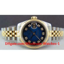 Wholesale Luxury Ladies Watch Box - New arrive Luxury watches free gift box Wrist watch Ladies 18kt Gold SS Blue Vignette Diamond 179173