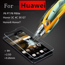 Wholesale Cleaning Kit Screens - Tempered Glass Film Explosion Proof Screen Protector For Huawei P6 P7 P8 lite Honor 6 7 3C 4C 3X Ascend G7 + Cleaning Kit