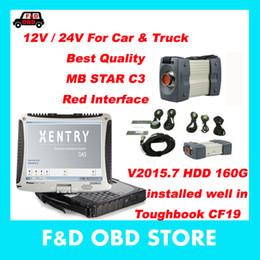 Wholesale Car Wells - For Benz MB Star C3 12V 24V with HDD software V2015.7 installed well in Toughbook CF19 car diagnostic scanner tool MB C3 obdii