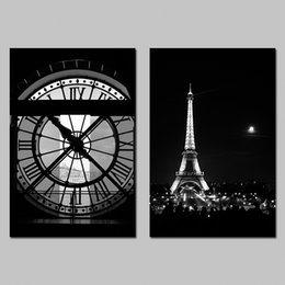 Wholesale Art Painting Wall Clock - 2 Pcs Set No Framed Paris Eiffel Tower Black And White Clock Moon Decoration Wall Art Pictures Canvas Painting For Living Room Home Decor