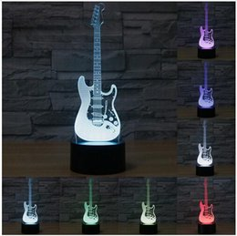 Wholesale Led Guitar Lights - Creative 3D light electric guitar Model Illusion 3d Lamp LED 7 Color changing USB touch sensor desk light Night Light
