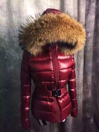 Wholesale Raccoon Long Coat - M6601 Luxury Mon Brand Jacket big real raccoon fur parkas for women winter Women 90% white duck Down Parkas femal anorak women coats jacket