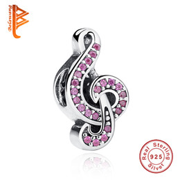 Wholesale Pandora Note - BELAWANG 925 Sterling Silver Big Hole Beads European Micro Pink Crystal Music Note Charm Fit Pandora Bracelet&Necklace Jewelry Accessories