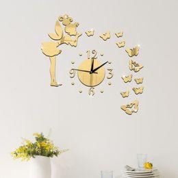 Angelo orologio online-Orologi Orologi da parete Angelo Orologio Farfalla Smontabile Specchio acrilico 3D Adesivi murali Adesivi Arredamento per la casa Specchio decorativo TT298