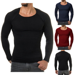 Wholesale Purple Striped Sweater - New Men Knitted Basic Sweater Fashion Brand Clothing Men's Striped Sweaters Solid Color Slim Fit Men Pullover For Autumn Winter