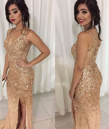 Wholesale Sparkle Beaded Dress - Sexy Gold Crystal Mermaid Prom Dresses V Neck Sheer Straps Backless Tulle Split Sparkle Evening Gowns Luxury Pageant Dresses