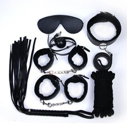 Wholesale Handcuffs Whips Mask Set - Adult Games Sex Bondage 7pcs Set Leather Handcuffs Gag Whip Mask Erotic Toy Fetish Adult Sex Restraints Sex Toy For Couples