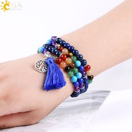 Wholesale Balance Power - CSJA Natural Balance Stone Lapis Lazuli 108pcs Beaded Bracelets Hand Jewelry Reiki Meditation Power Charms Silver Beads Bracelet Bangle E660