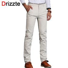 Wholesale Men Black Business Trousers - Wholesale- Drizzte Mens Stretch Casual Dress Pants Classic Quality Business Trousers White Beige Black Blue Size 30 31 32 33 34 36 38