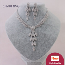 Wholesale trendy costume fashion jewelry - Costume jewelry necklaces and earrings 2 pcs Bridal jewelry sets Imitation jewellery charms style New fashion jewelry Wholesale sellers onli
