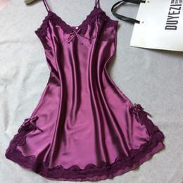 Wholesale White Silk Night Gown - new arrival night gowns summer style red silk satin sleepwear mini sexy girl nightwear women nightdress sleepshirt drop shipping